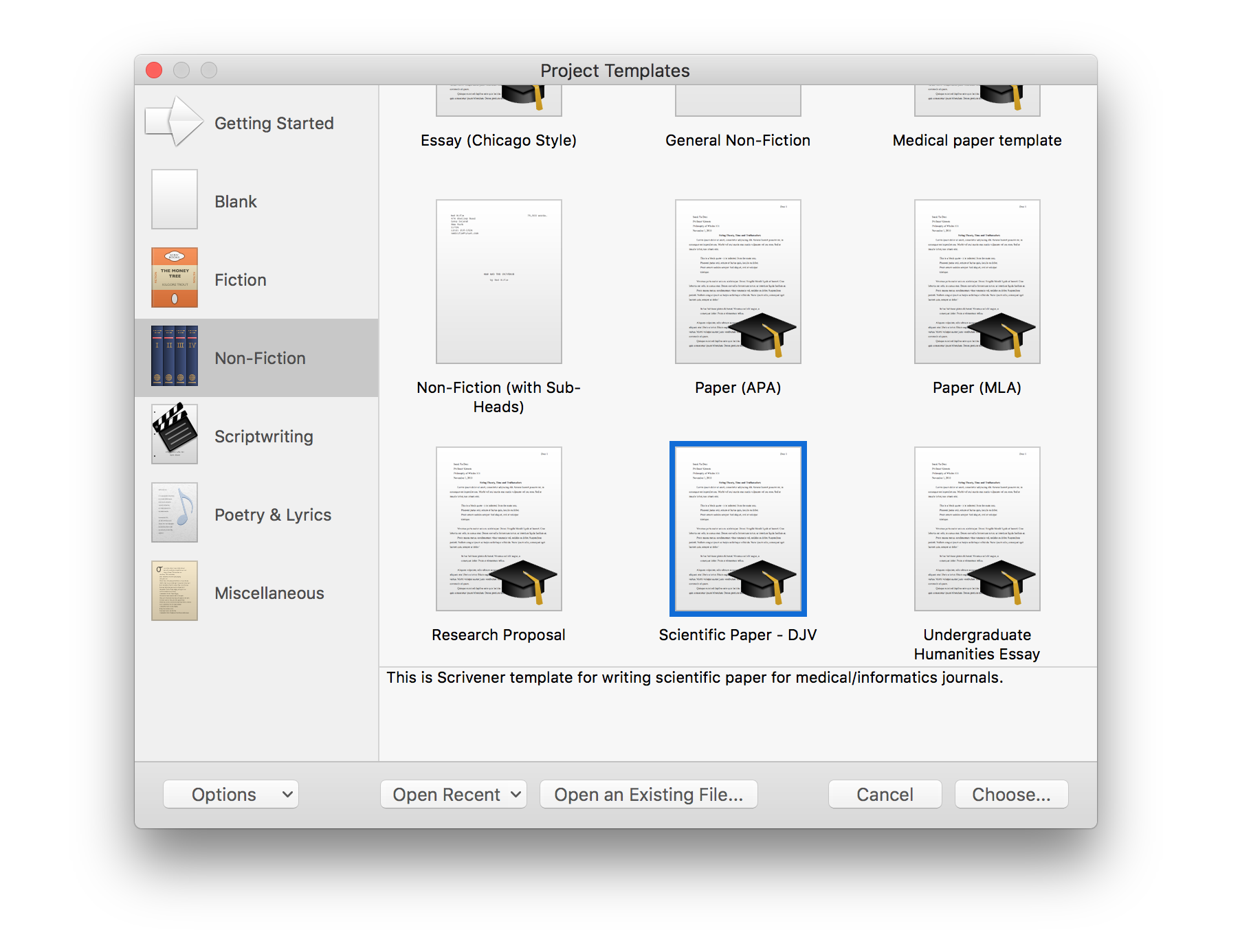 Importing a scrivener template for scientific papers daniel vreeman if you are importing my template for writing scientific papers youll find it under the non fiction category pronofoot35fo Images